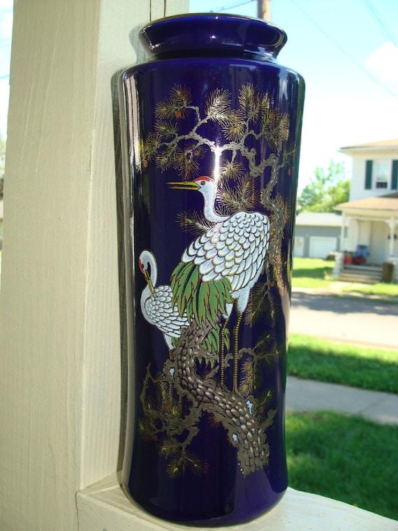 Bijutsu Toki Japanese Signed Porcelain Vase Cobalt Glaze