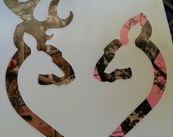 You pick size Browning style Buck and Doe with pink camo heart shaped decal sticker