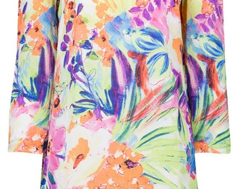 Floral Printed pure silk dress