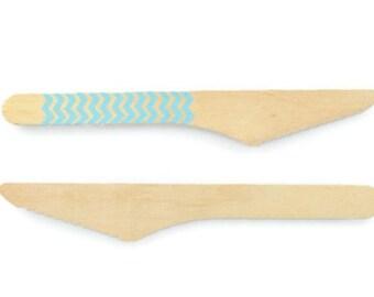 WOOD KNIFE CUTLERY (Set of 10) - Wood Knife with Blue Chevron Zig Zags Pattern (16cm)
