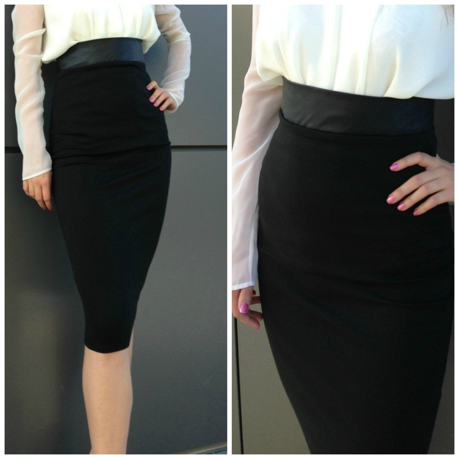 Black Pencil Skirt / High Waisted Leather Skirt / Fashion