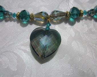 Teal crystal heart necklace Blue Zircon bead earrings