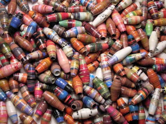 Handmade Recycled Paper Beads mix Colour  origami paper