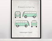 Hippie Camping. Volkswagen Type2. Wall Art. Car Graphic. Digital Print. Typography A3 A2