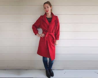 Cherry Red Vintage Wool Coat
