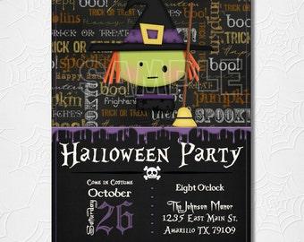 Halloween Witch Invitation, Halloween Night, kids,  invitation, printable, digital file