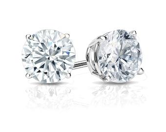 14k Gold 4-Prong Basket Round Diamond Stud Earrings 1.00 ct. tw. (H-I, I1)