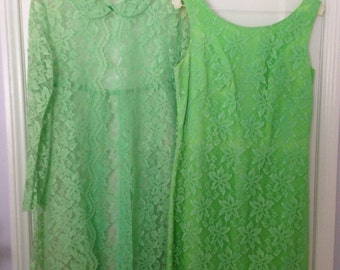 1960's 2pc. Green Lace Dress with Jacket