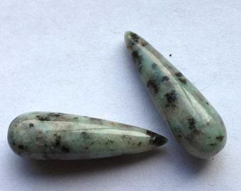2 Moss Agate Drop Beads