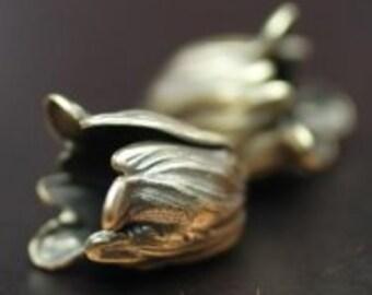 Pair Bronze Flourish Petal Bead Cap