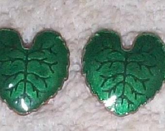 Pair Vintage Brass Enamel Leaves