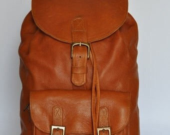 Tan Genuine Leather Backpack.