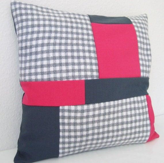 Items similar to Patchwork Pillow, Buffalo Check Pillow, Grey Pink Pillow Cover, Felt Pillow ...