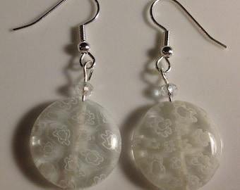Clear & white glass earrings w/ silver hooks