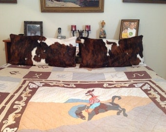 Hair on cowhide pillow shams.  Any size!