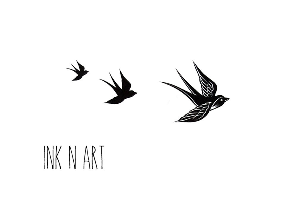 3pcs Set Free Birds Tattoo InknArt Temporary By