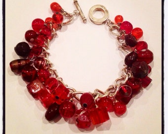 Chunky Red Cluster Toggle Bracelet