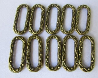 10pcs. Antique Brass Oval Textured Connector