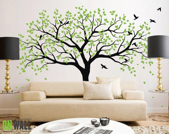 Large tree wall decals trees decal nursery tree wall decals - How to paint murals on bedroom walls ...
