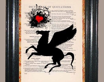 Black Pegasus with Red Heart - Vintage Dictionary Page Art Print Upcycled Book Page Art Collage Art Pegasus Print