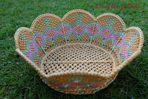 Handmade Nylon Basket : Medium sz macrame basket rope nylon handmade in by