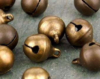 12mm Vintaged Brass Jingle Bells Charm Beads rb115(20pcs)