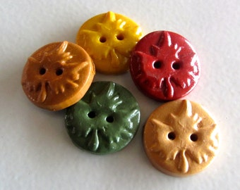 Maple Leaf Buttons ~ Set of 5