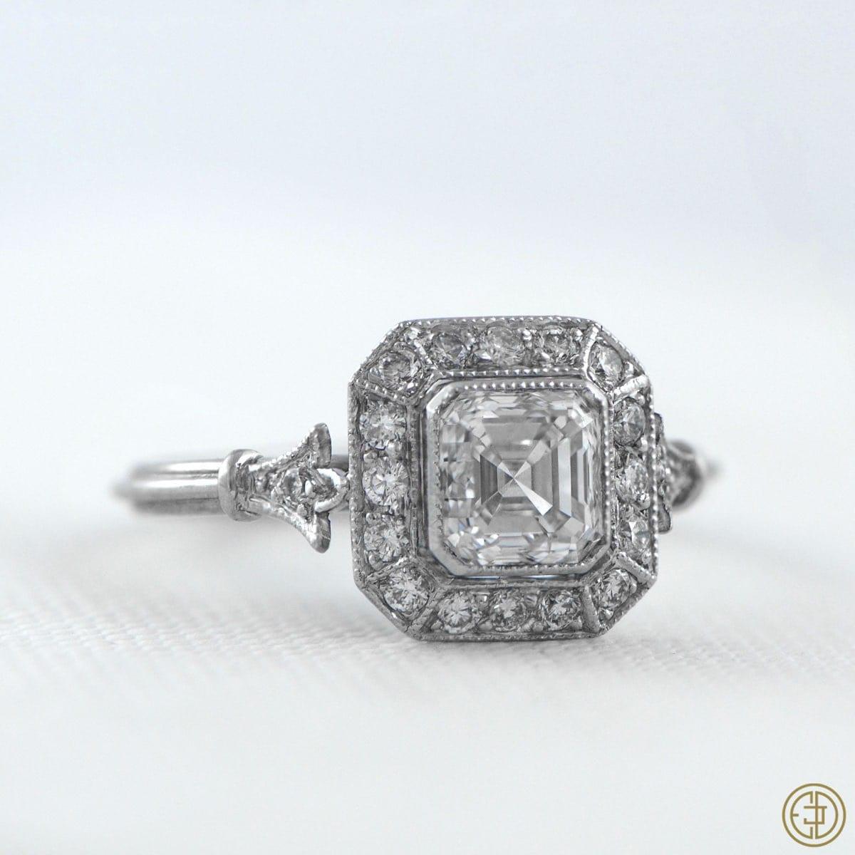Vintage Style Asscher Cut Diamond by EstateDiamondJewelry on Etsy
