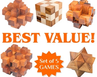 Set of 5 Wooden Games and Puzzles