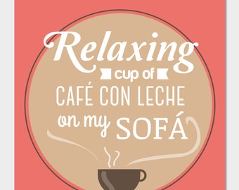 "Picture-illustration. Typography. ""Relaxing Cup of latte"""