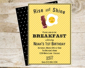 Breakfast Printable Invite Bacon and Eggs Brunch