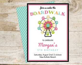 Boardwalk Theme Printable Party Invite - fun for summer party