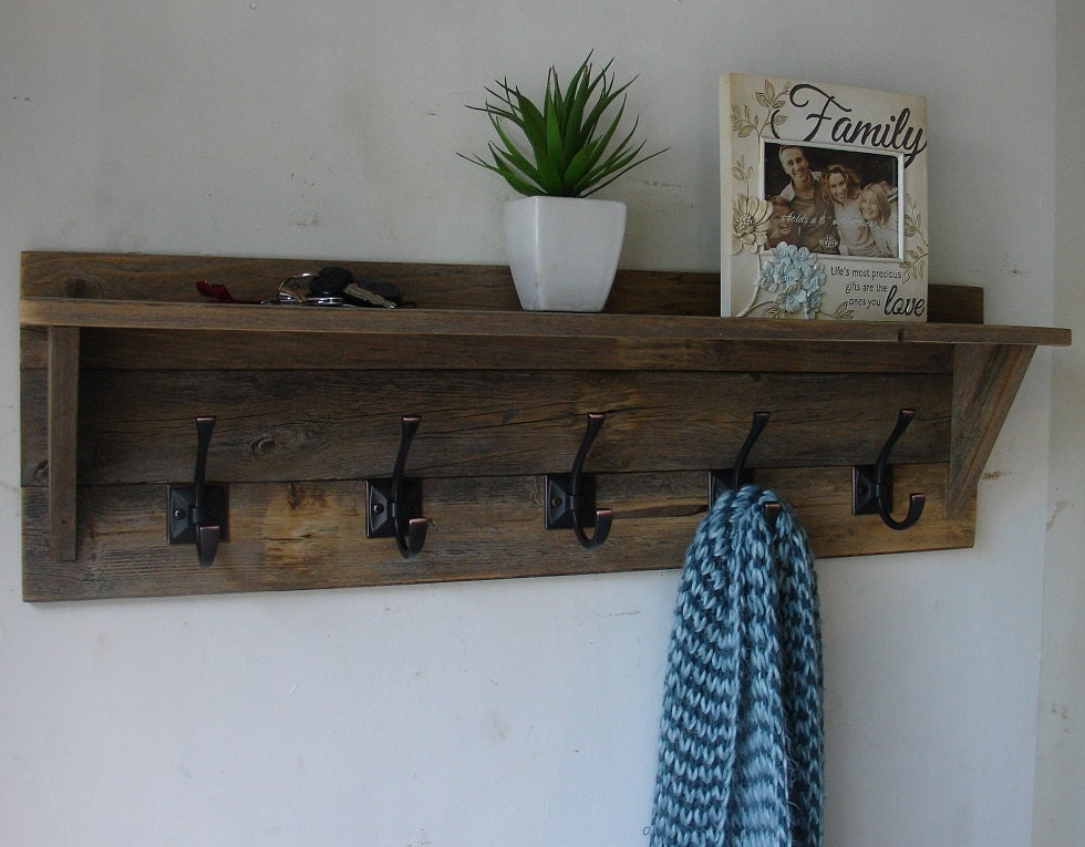Townson rustic reclaimed wood hanger hook coat rack with