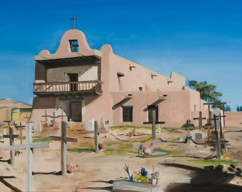 San Ildefonso Pueblo Mission Church Original Oil Painting on Canvas by Santa Fe New Mexico Artist Raquel Underwood (unframed)