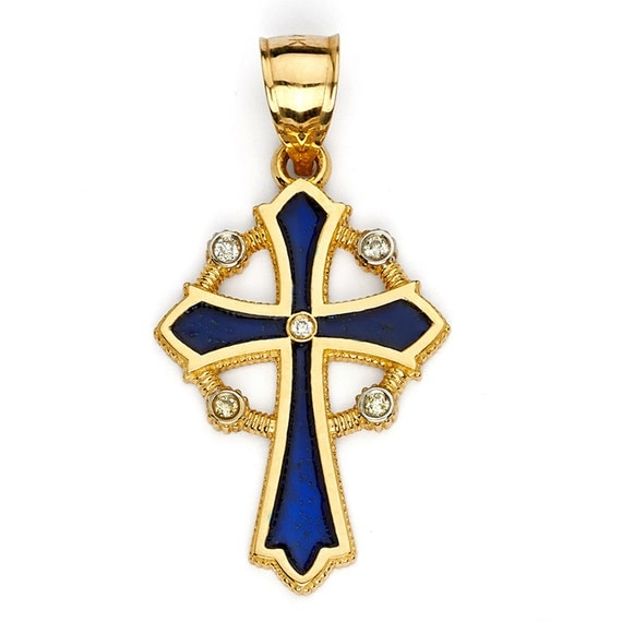Gold Italy Platinum: CROSS NECKLACE. 14k Two Ton Gold Pendant By