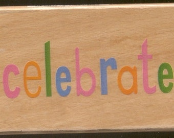 Celebrate Rubber Stamp for scrapbooking and cardmaking