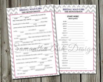 "Bridal Mad Libs PDF Instant Download- ""The Honeymoon"" Story- Chevron 5x7 inches"