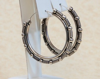 Vintage Sterling Silver Wire and Ball Hoop Earrings