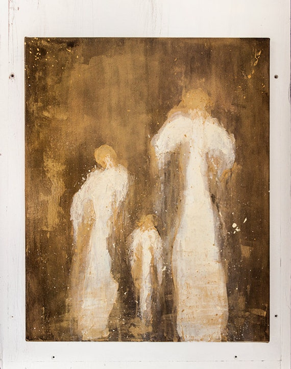 Original Painting | Abstract Guardian Angels | Gold and Gloss