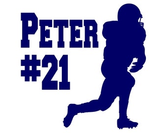 Football Decal Personalized Football Team, Player Name, and Player Number Vinyl Decal for Car Window, Locker, Laptop, and More!