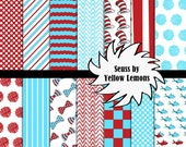 """Digital scrapbooking paper (Dr. Seuss) 12x12 """"CAT IN HAT"""" cat, fish, polka dots, checkers, red, blue, white, Dr. Seuss, bow tie, chevron"""