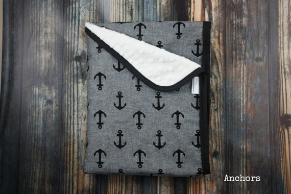 Gender neutral nautical black and gray chambray cotton and minky baby blanket