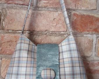 Sale! - Pale blue tartan handbag