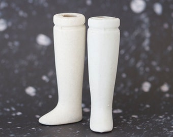 """White Porcelain Legs 2.9"""" - bisque Feet Doll Parts - Doll Making Altered Arts"""