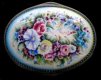 Floral Oval Box Russian Enamel