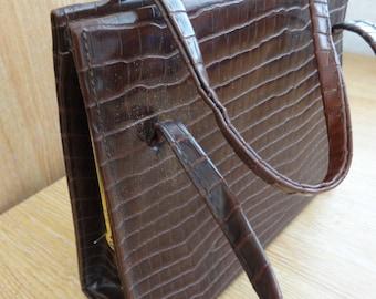 Vintage 1950's Brown Handbag - Interesting Texture - Great Condition!!
