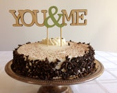 You & Me - Modern Wedding Cake Topper With Ampersand Accent