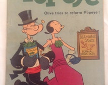 Vintage Dell Comic Book - Popeye, Olive tries to Reform Popeye - 1960