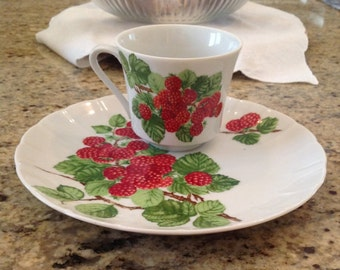 Vintage French Raspberry, Framboise, Cup and Plate Set, Mann 1975
