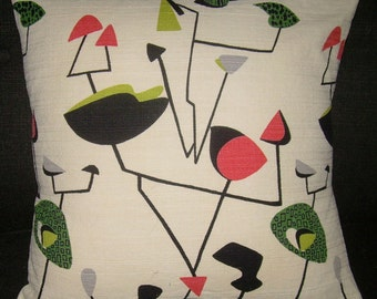 "Mid Century Atomic Pillow Cover ""Mobile Madness"" 20"" 1950's Barkcloth Retro Sputnik Pillow"